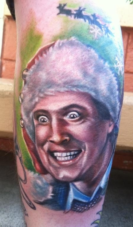 Terrifying looking colored leg tattoo of creepy man with hat