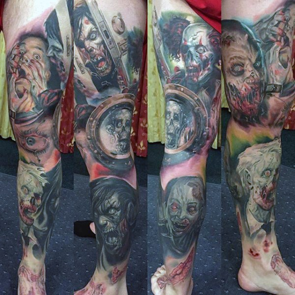 Terrifying multicolored leg tattoo of various horror movies monsters