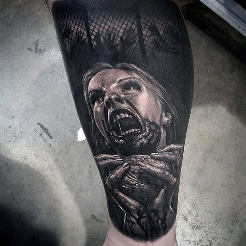 Terrifying natural looking colored black and white monster zombie tattoo with bloody human heart