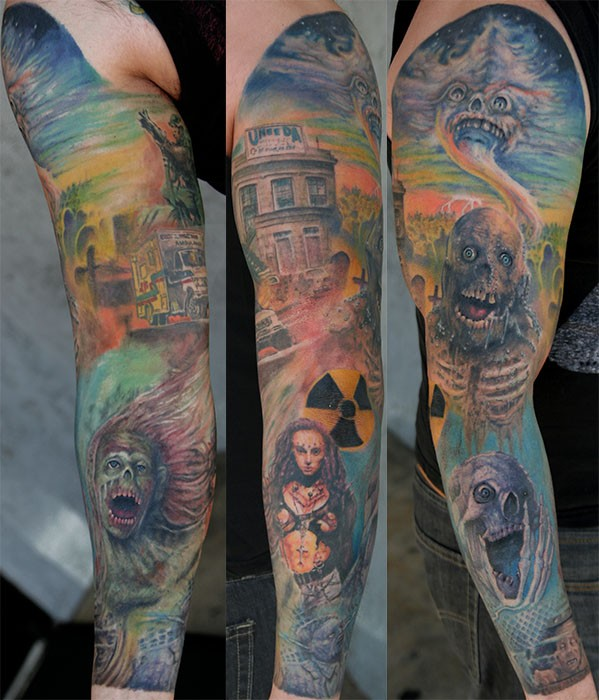 Theme of horror tattoo on full sleeve