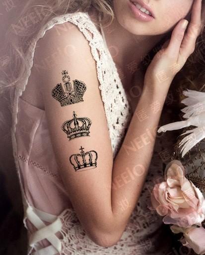 Three crown black and white tattoo