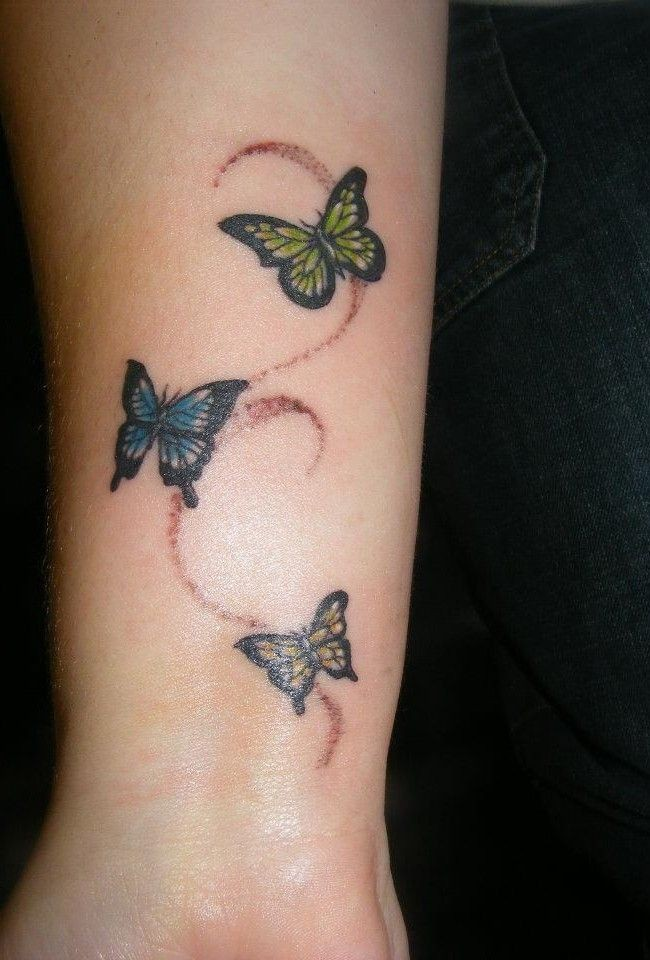 Three different small butterfly tattoo with pattern