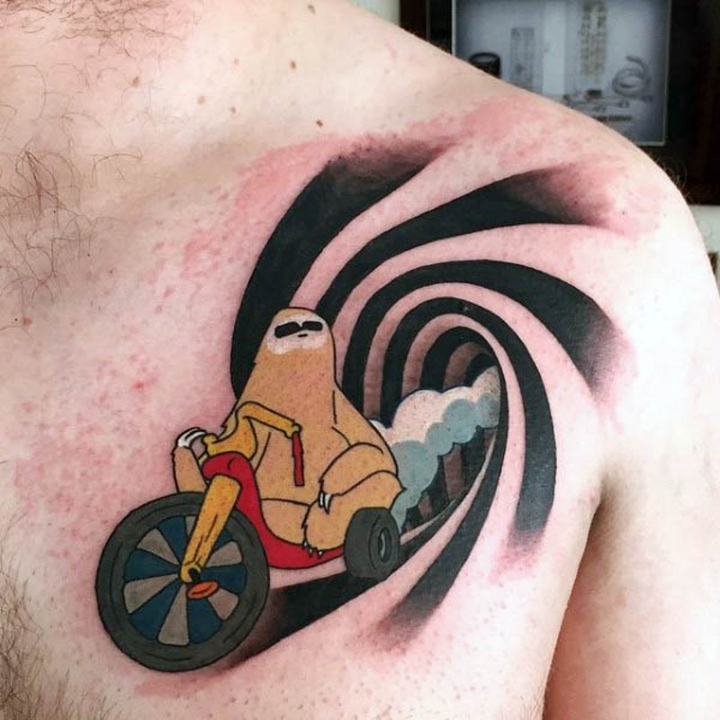 Thug like colored sloth on bike chest tattoo