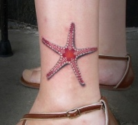 Awesome elegant red starfish tattoo for girls on ankle