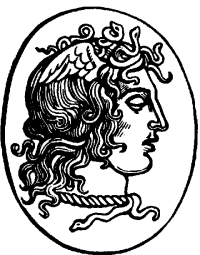 oval frame tattoo design. Black-ink Grecian Style Medusa Gorgona Profile In Oval Frame Tattoo Design