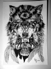 girl with wolf head drawing