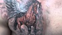 Big beautiful dark horse tattoo on chest for men