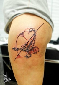 Colored ketch style thigh tattoo of big scorpion