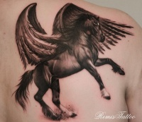 Lovely dark horse with wings tattoo on shoulder blade by remis
