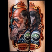 New school style colored tattoo of old man with beard portrait
