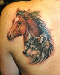 Realistic portrait horse and wolf face tattoo