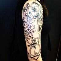 Really cool traditional anchor tattoo