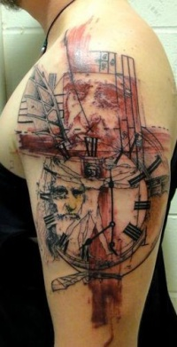Science themed colored shoulder tattoo of of various symbols and clock