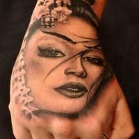 3D asiatisches schwarzes Hand Tattoo von Porträt der Frau