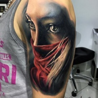 3d beautiful portrait of a girl tattoo on shoulder