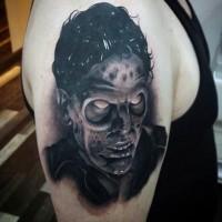 3D black and white horror movie monster tattoo on upper arm