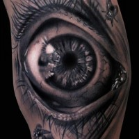 3d eye and flies tattoo on hand