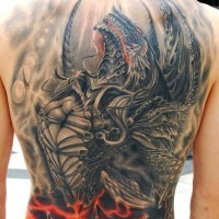 3D gorgeous colored massive whole back tattoo of demonic dragon
