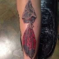 3D gorgeous natural looking colored arrow head tattoo on forearm stylized with feather