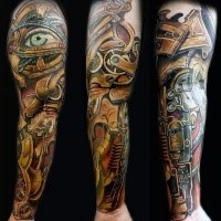 3D interesting looking biomechanical style tattoo of mystical armor