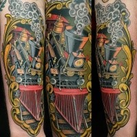 3D like beautiful painted and colored arm tattoo of steam train