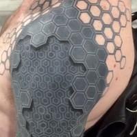 3D grande bianco e nero biomeccanica tatuaggio su spalla