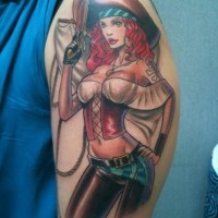 3D like big colored seductive pirate woman tattoo on shoulder