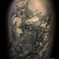 3D like big very detailed black and white shoulder tattoo of fighting viking warrior