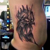 3D inchiostro nero tatuaggio su lato