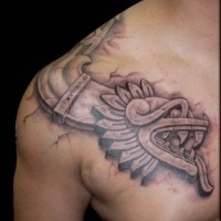 3D like black ink shoulder and chest tattoo of tribal dragon sculpture
