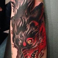 3D farbiger großer Hölle Hund Tattoo am Unterarm