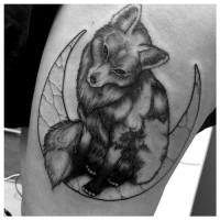3D like colored very detailed fox tattoo combined with stone moon