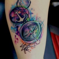 3D like colorful compass and anchor tattoo on arm