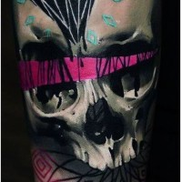 3D like detailed colored human skull tattoo on sleeve with diamond and ornaments