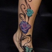 3D like elegant colored roses with butterfly tattoo on ankle