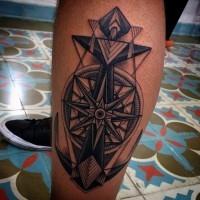 3D like futuristic designed colored big anchor tattoo on leg