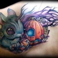 3D bello disegno grande iinteressantezombie  topo con zucca  zucca tatuaggio su spalla