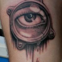 3D bel piccolo occhio nero e bianco tatuaggio su gamba