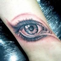 3D bello piccolo occhio triste  inchiostro nero tatuaggio su polso