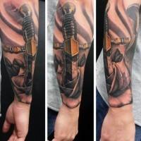 3D massiccio spada medievale in fiore tatuaggio su braccio