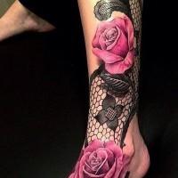 3d multicolore grandi floreale bellissimo tatuaggio su caviglia e piede