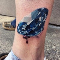 3D like multicolored pure diamond tattoo on ankle