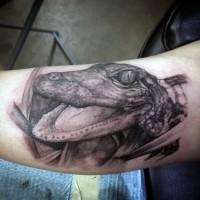 3D realistico nero e bianco piccolo alligatore tatuaggio su braccio