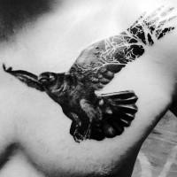 3D unico dipinto inchiostro nero aquila volante tatuaggio su petto