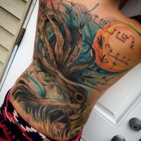 3D massive colored big tree tattoo with moon and music notes tattoo on whole back area