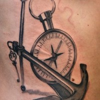 3D nautical themed side tattoo of steel anchor and compass