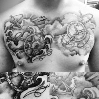 3D realistic black and white anchor with steering wheel and compass tattoo on chest