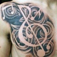 3D realistic black and white music notes tattoo on chest