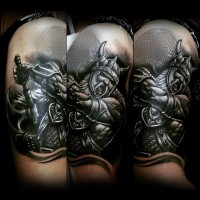 3D realistic black and white old viking warrior tattoo on upper arm