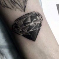 3D realistic black ink diamond tattoo on arm